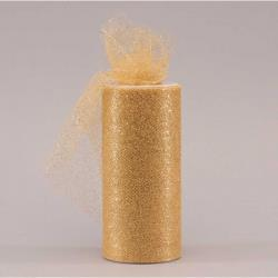 "HC0315 TULLE 6"" X 25YARDS (15CM X 23MT) - GOLD GLITTER Detail Page"