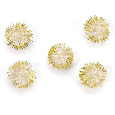 HC1153/22 13MM TINSEL POM POMS 20PCS WHITE/GOLD Detail Page