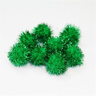 HC1153/30 13MM TINSEL POM POMS 20PCS GREEN/GREEN Detail Page