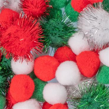 HHC/66 MIXED SIZED POM POMS XMAS BAG 50 Detail Page