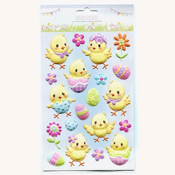 PP1088 EASTER GLITTER STICKERS - CHICKS 6 SHEETS Detail Page